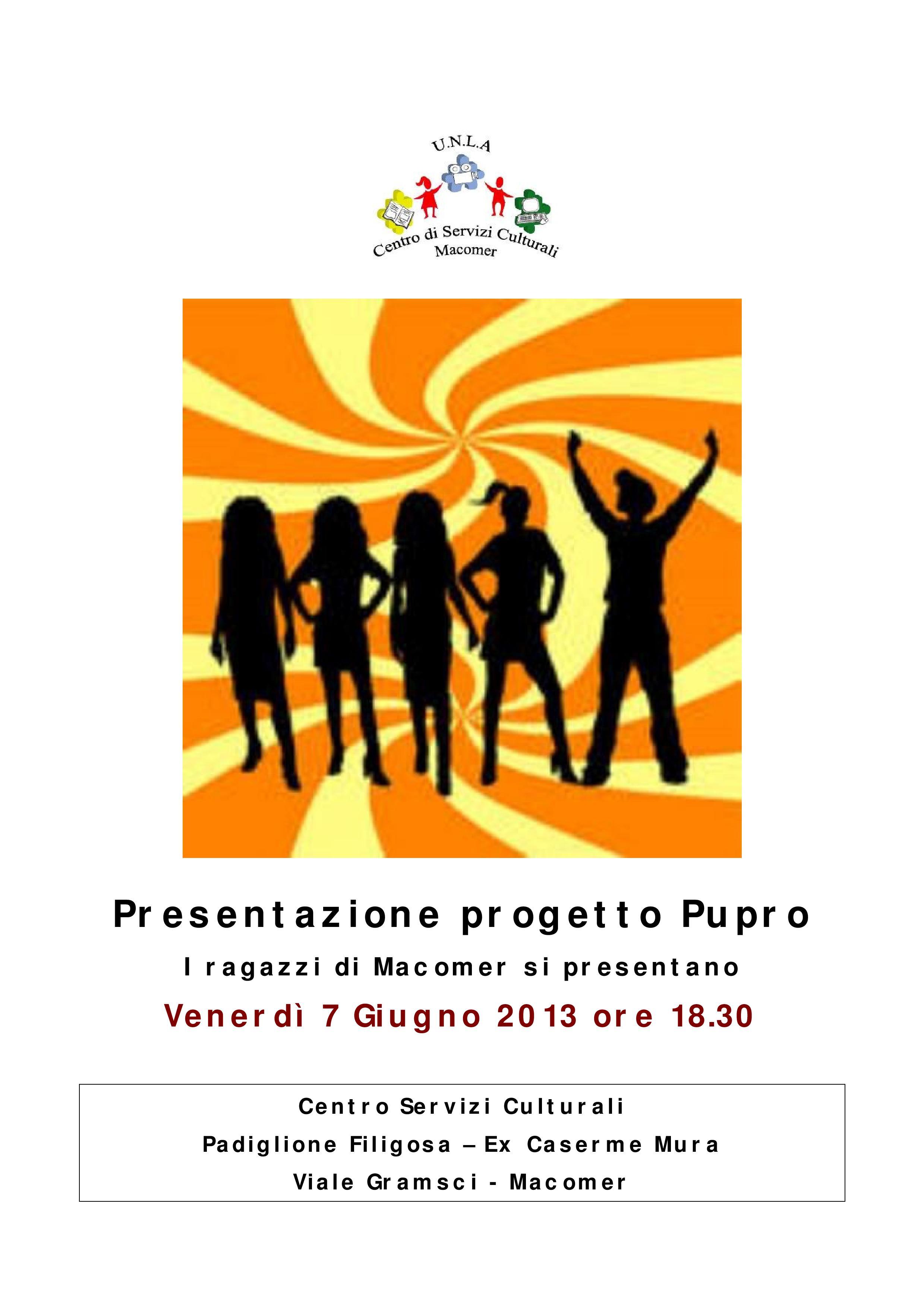 """Presentazione progetto """"Pupro"""" (Pubblicità – Progresso)"""