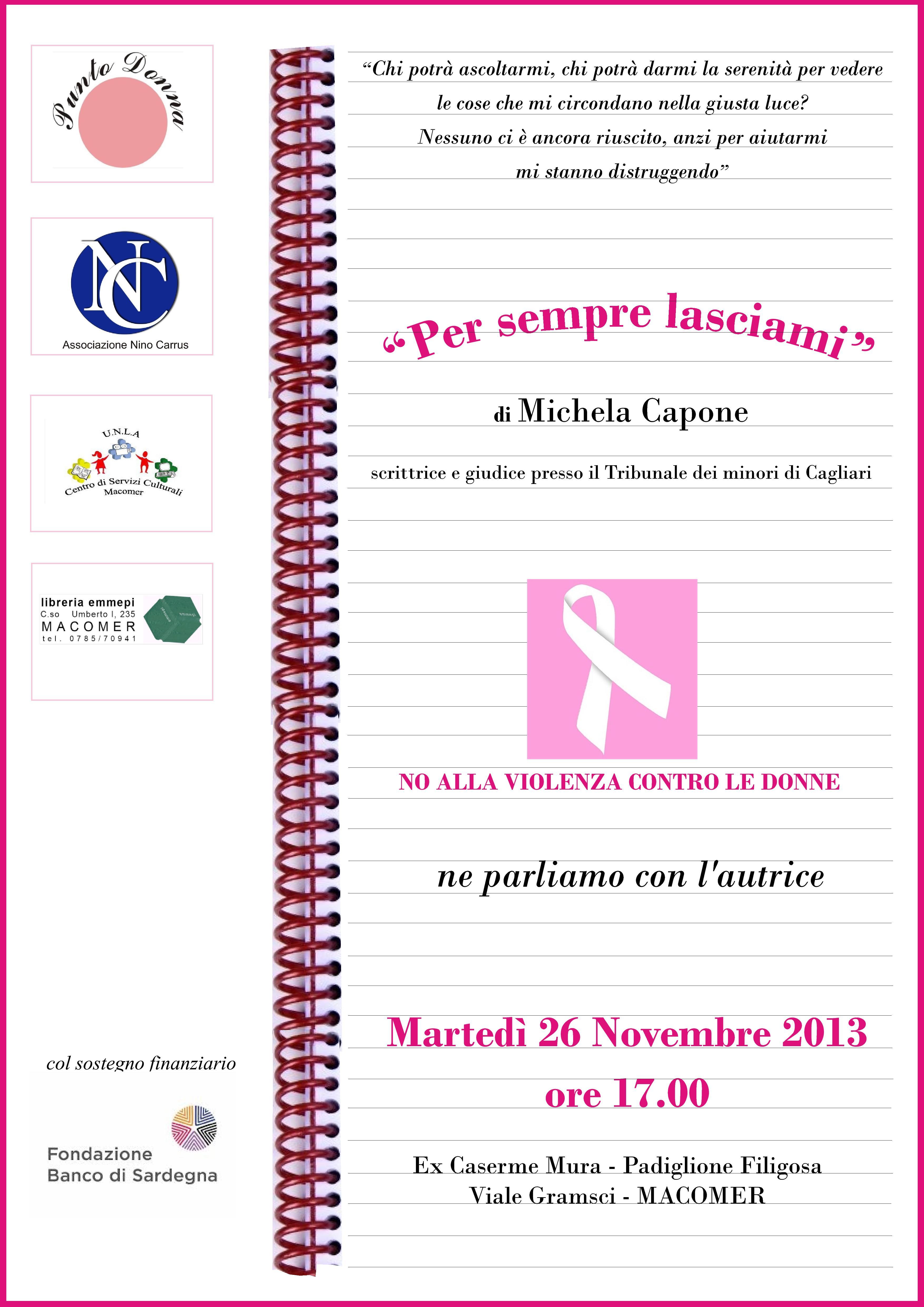 """Presentazione del libro """"Per sempre lasciami"""", di Michela Capone"""
