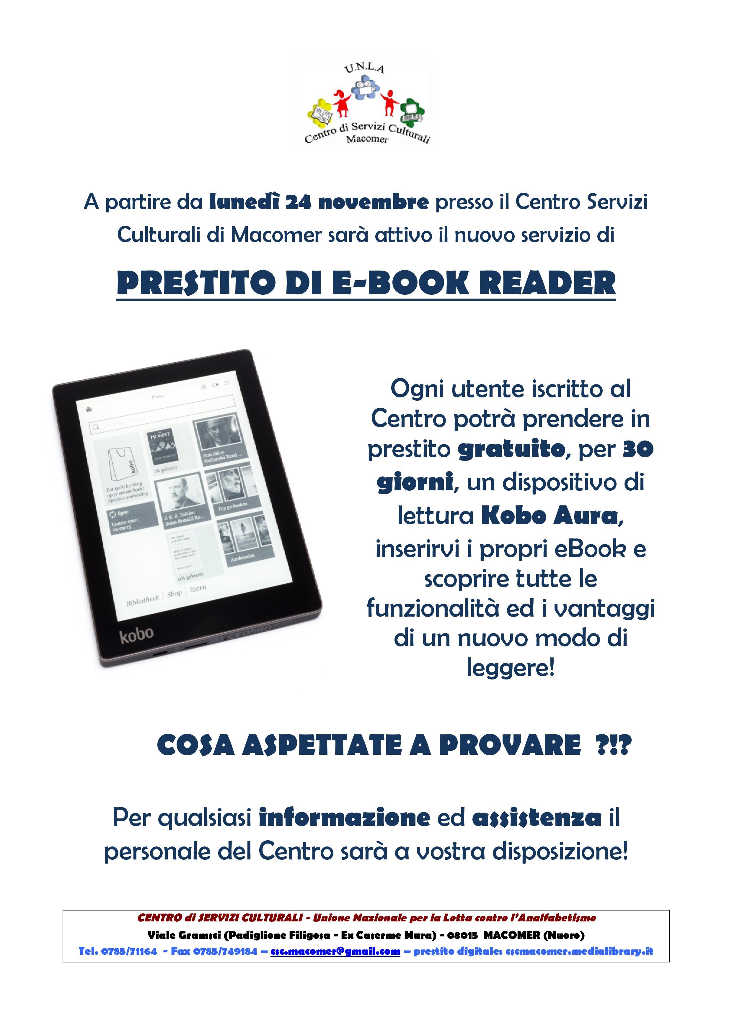 Prestito gratuito dei dispositivi di lettura per ebook