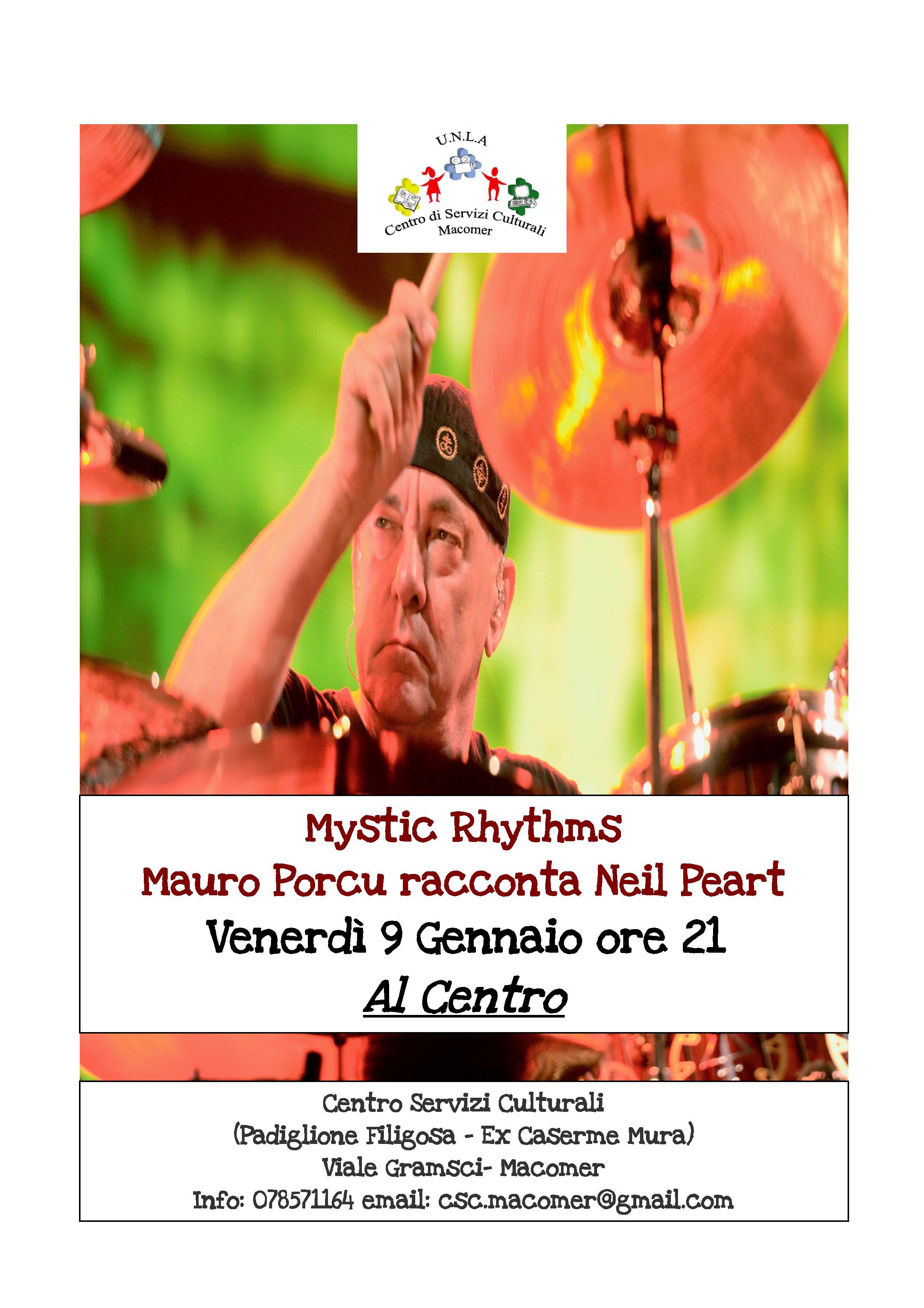 """Mystic Rhythms: Mauro Porcu racconta Neil Peart"" Venerdì 9 gennaio ore 21"