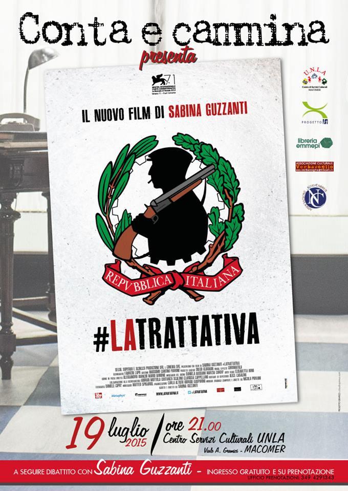 """Proiezione """"La Trattativa"""" di e con Sabina Guzzanti. Domenica 19 Luglio ore 21"""