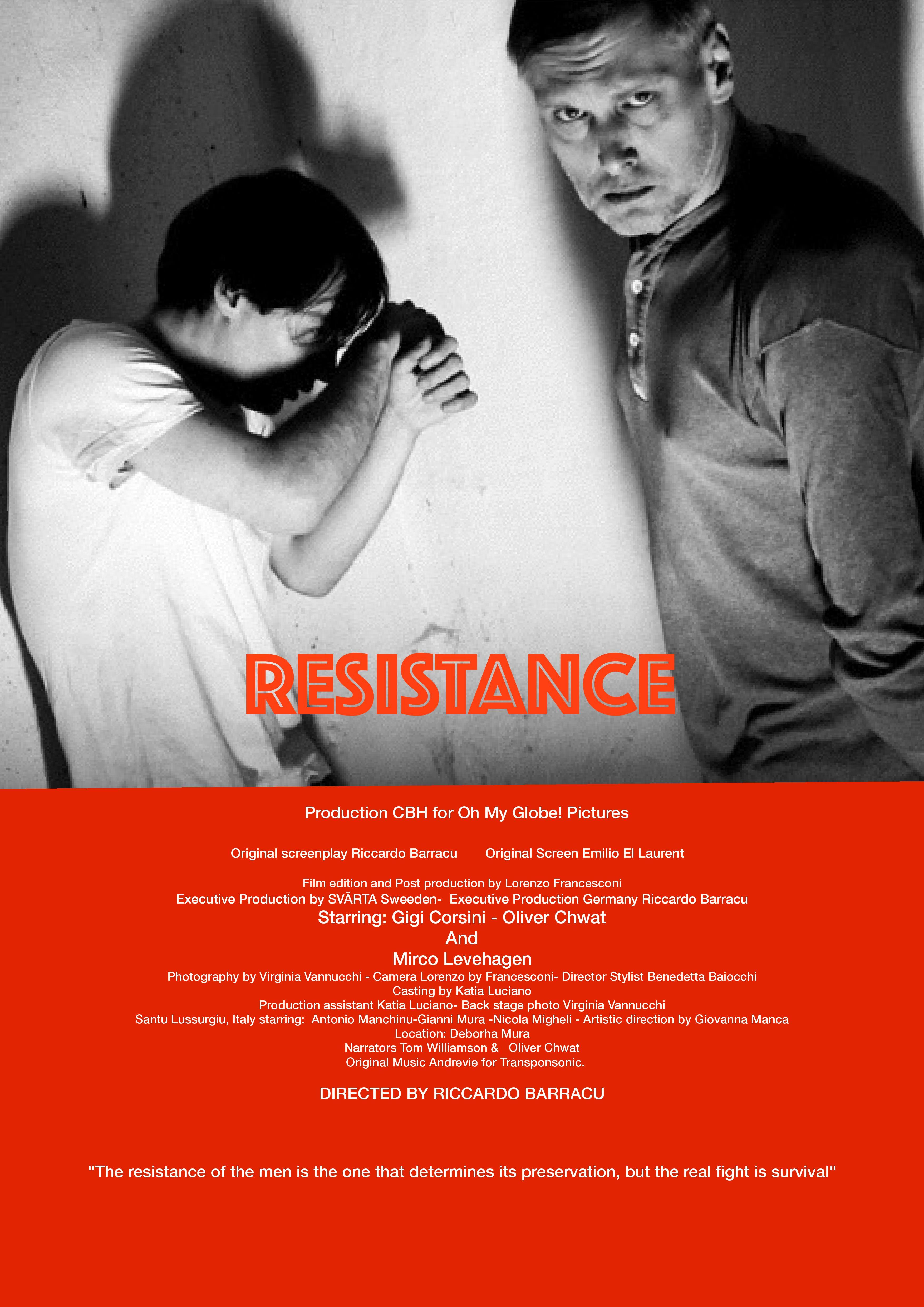"""Proiezione film """"Resistance"""" di Riccardo Barracu. Venerdì 16 Ottobre ore 21"""