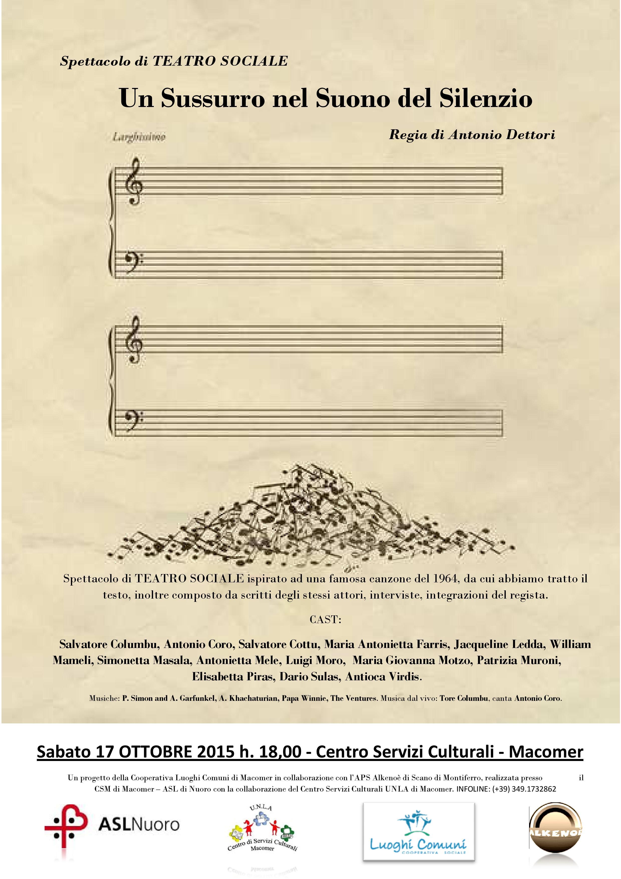 """Spettacolo Teatrale """"Un sussurro nel suono del silenzio"""" Sabato 17 ottobre ore 18"""