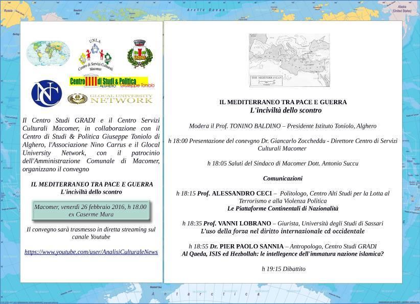 """""""Il Mediterraneo tra guerra e pace. L'inciviltà dello scontro"""" Venerdì 26 febbraio alle 18"""