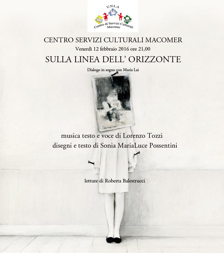 """""""Sulla linea dell'orizzonte"""" Concerto per immagini in ricordo di Maria Lai. Venerdì 12 Febbraio ore 21"""