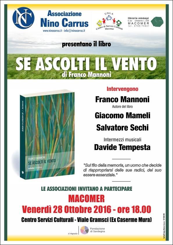 """""""Se ascolti il vento"""" di Franco Mannoni. Venerdì 28 Ottobre ore 18"""