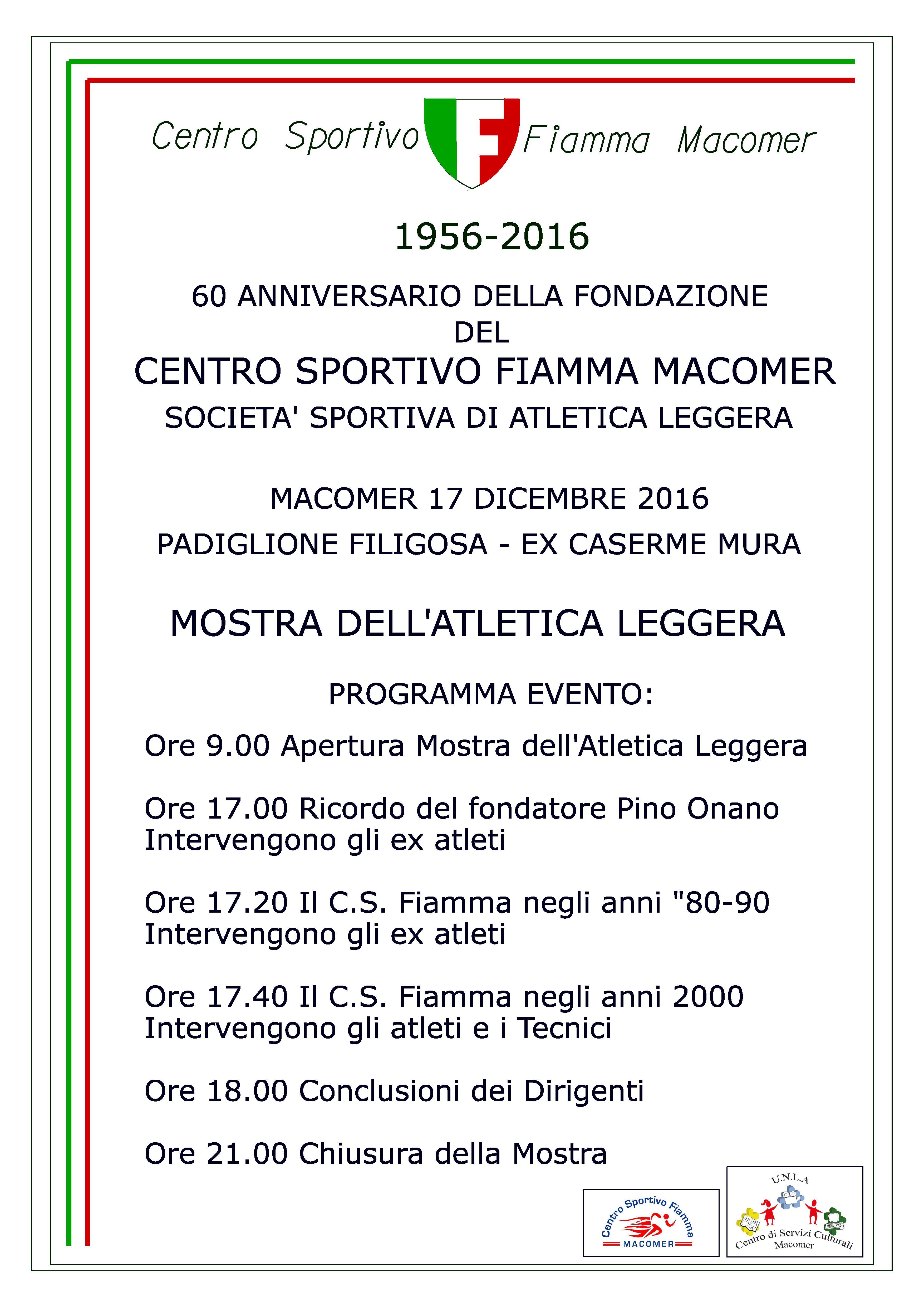 60° Anniversario della Fondazione del Centro Sportivo Fiamma Macomer. Sabato 16 Dicembre ore 9
