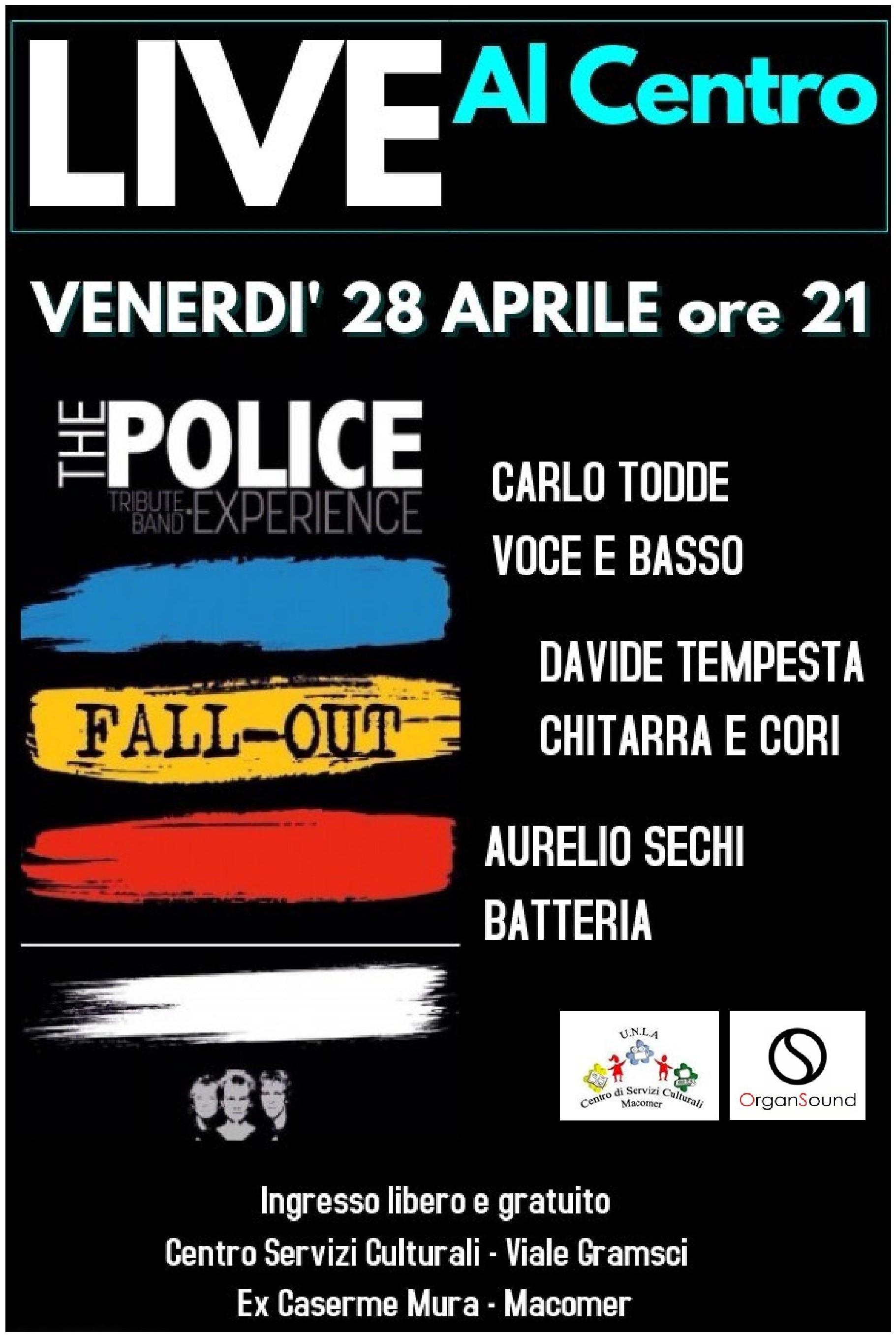 """Concerto dei """"Fall-Out"""" al Centro. Venerdì 28 Aprile ore 21"""