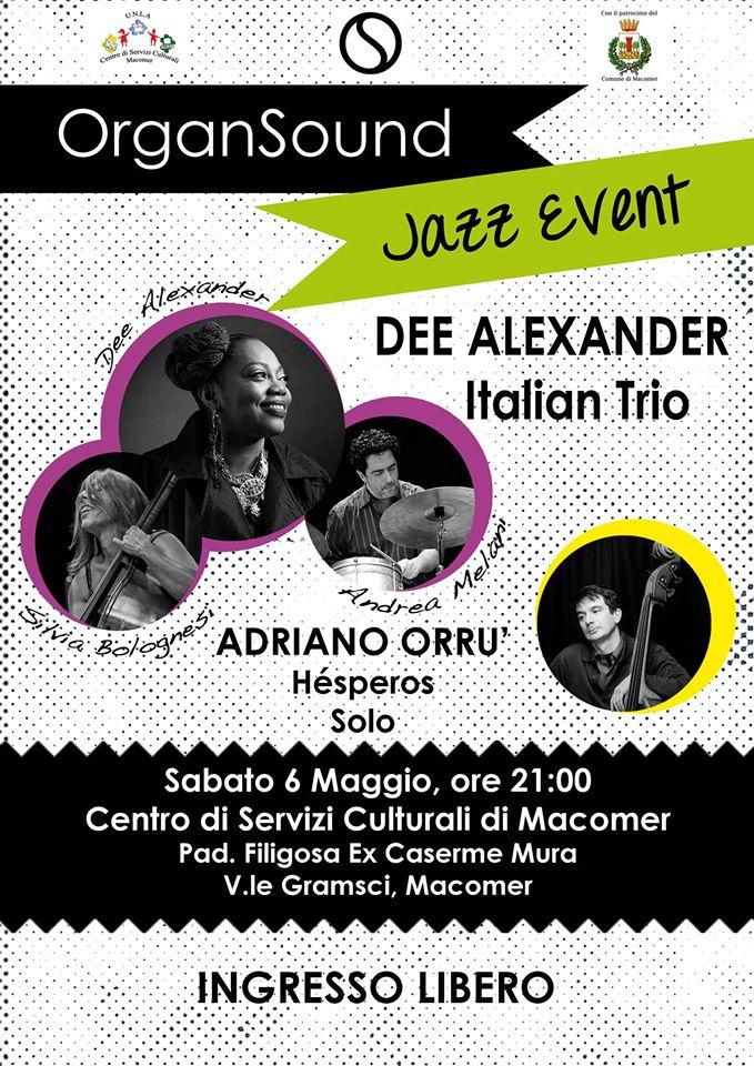 """""""Dee Alexander Italian Trio"""" & """"Adriano Orrù Hesperos Solo""""  Sabato 6 Maggio ore 21 al Centro"""