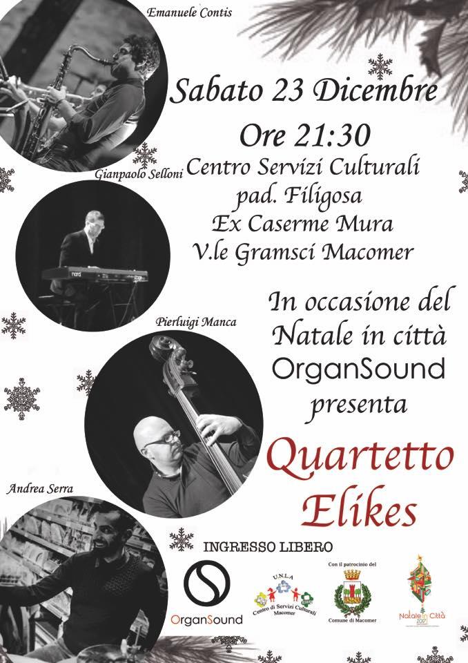 Quartetto Elikes in concerto! Sabato 23 Dicembre ore 21,30