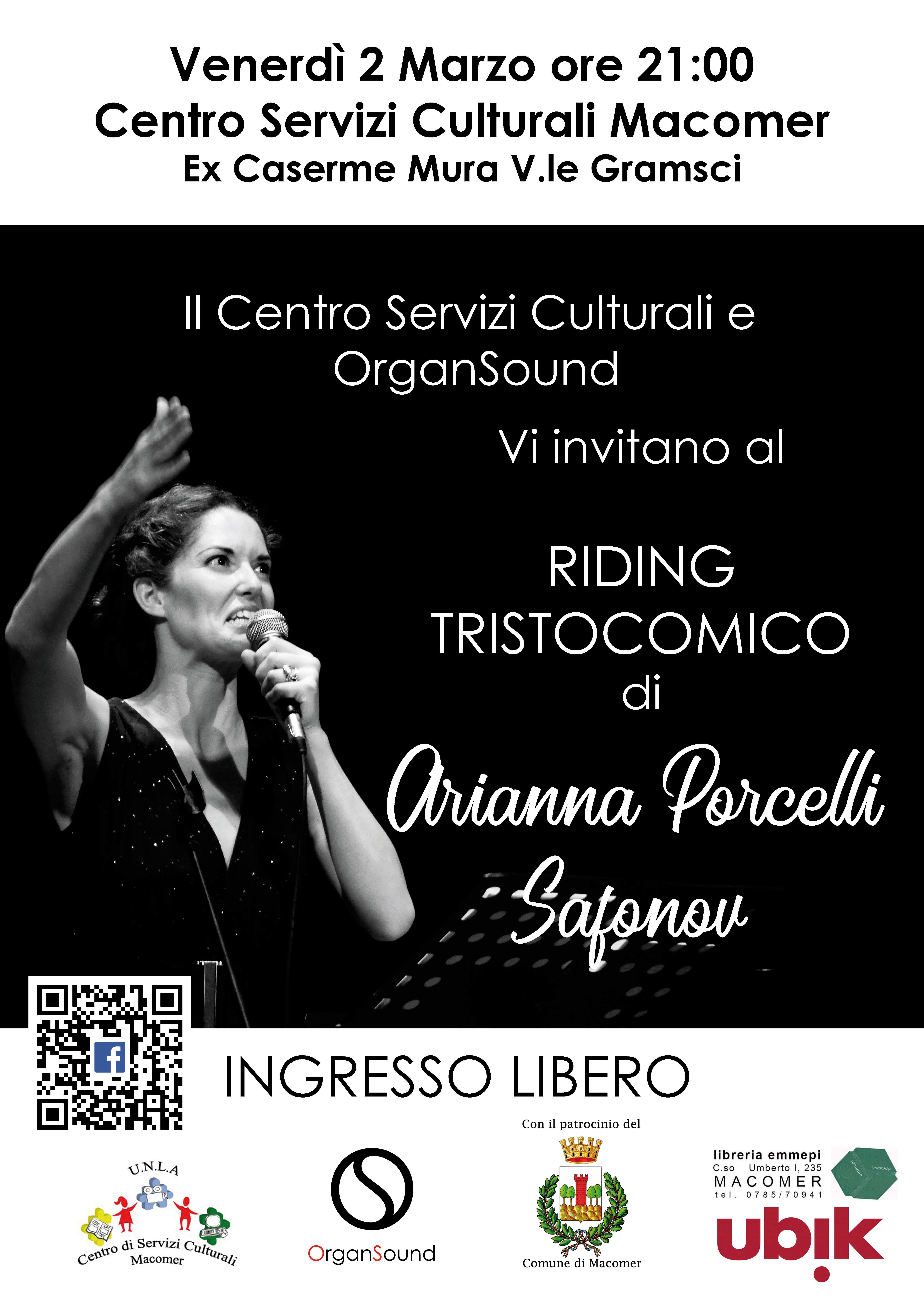 """""""Riding Tristocomico"""" di Arianna Porcelli Safanov. Venerdì 2 Marzo ore 21 al Centro"""
