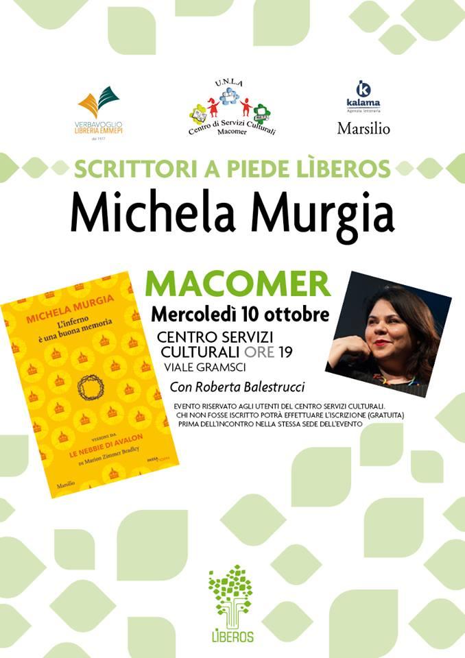 """Michela Murgia """"L'inferno è una buona memoria"""". 10 Otttobre ore 19"""