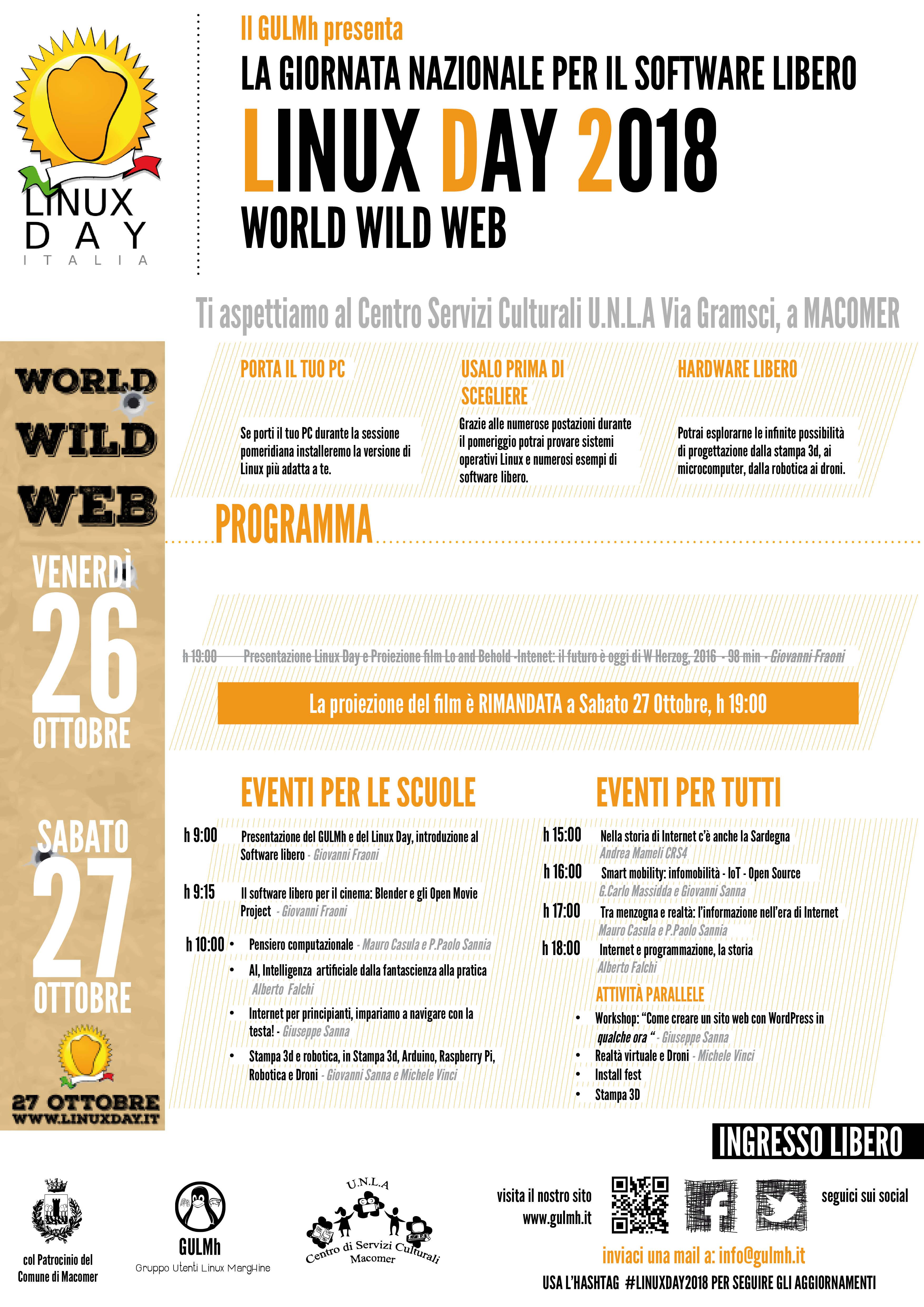 """Linux day 2018 e proiezione film """"Lo and Behold. Internet il futuro è oggi"""" di Werner Herzog. Sabato 27 Ottobre"""