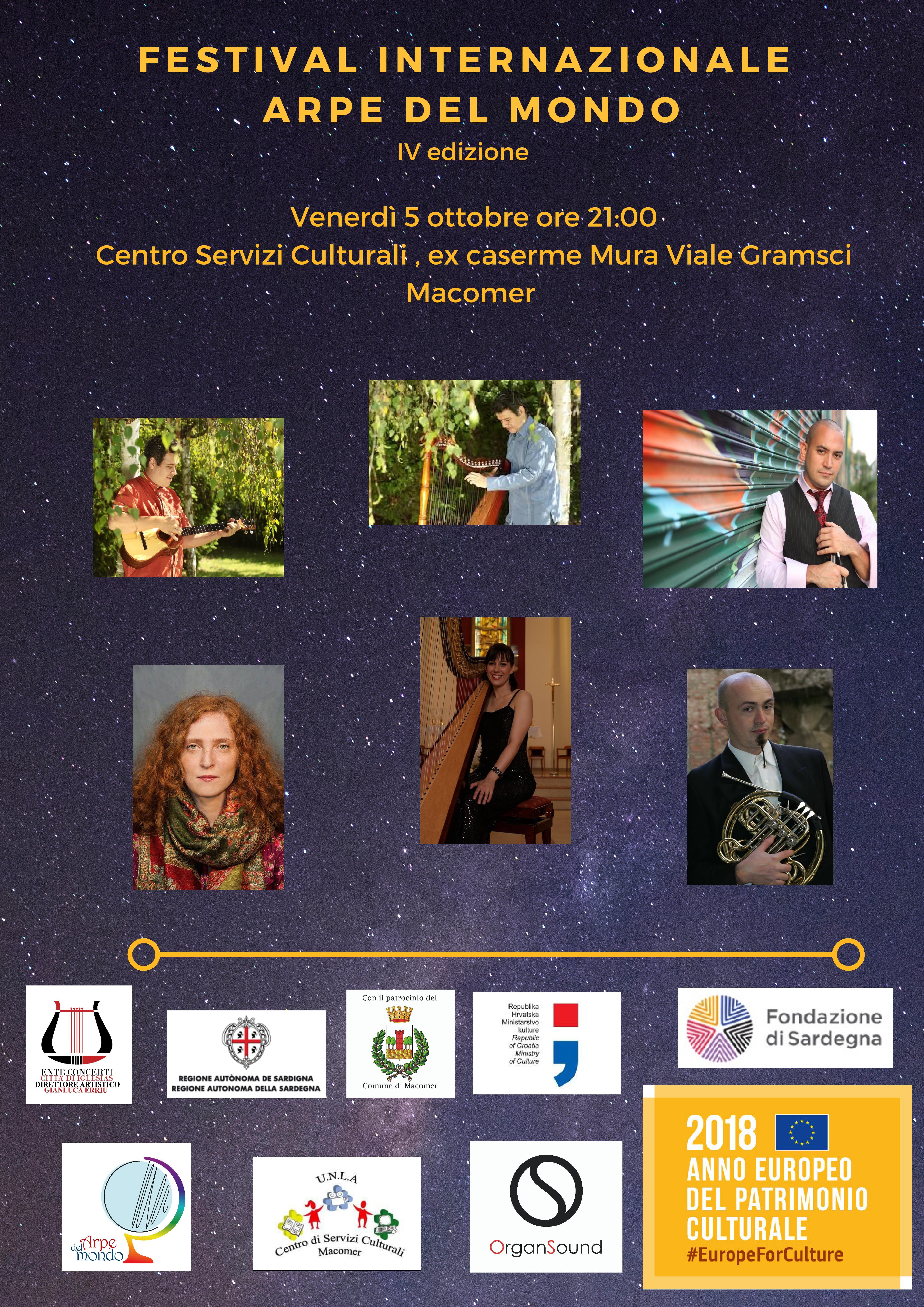 """Festival Internazionale """"Arpe del Mondo"""" Venerdì 5 Ottobre ore 21 al Centro"""