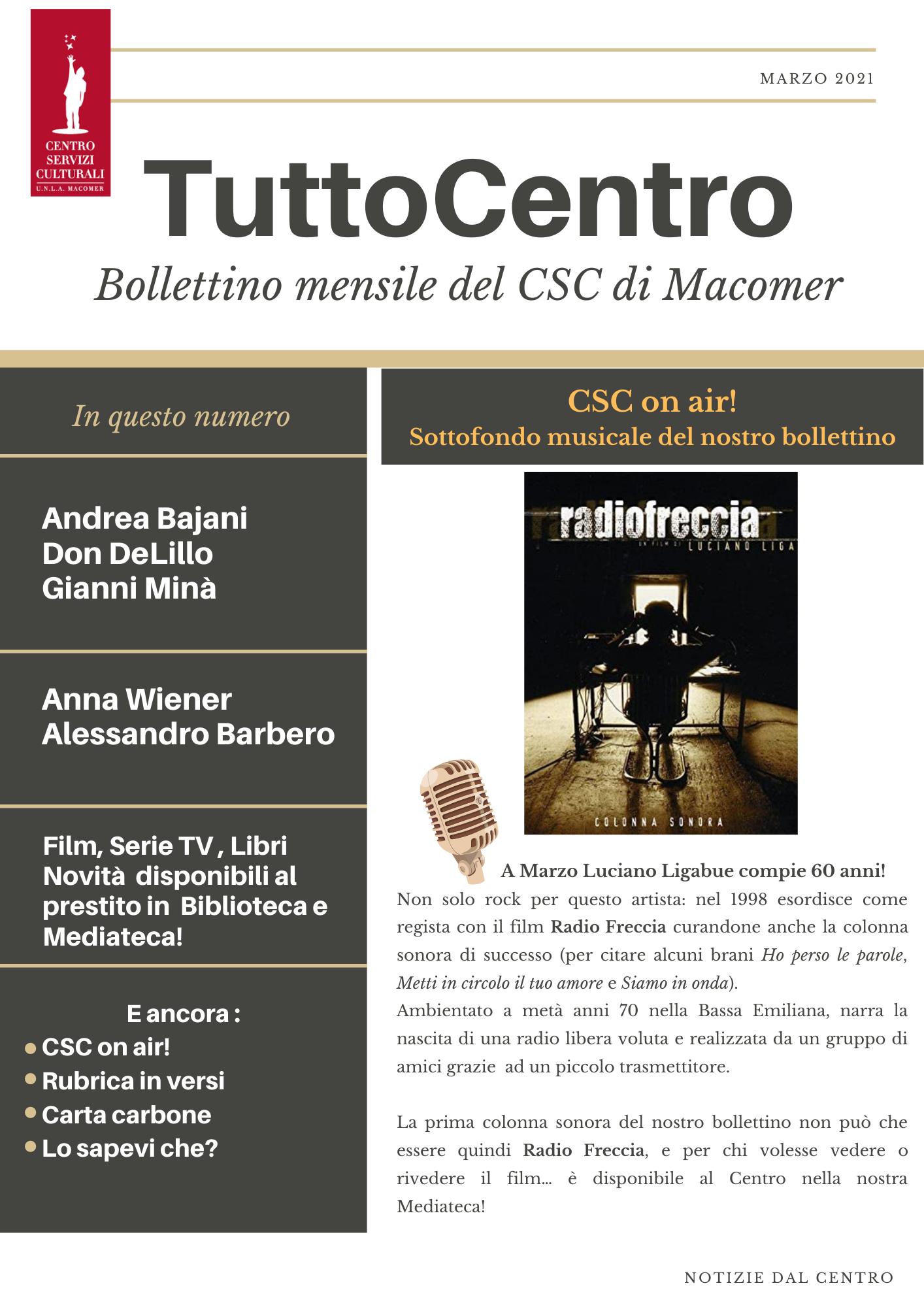 TuttoCentro – Marzo. Bollettino mensile del Centro Servizi Culturali di Macomer.