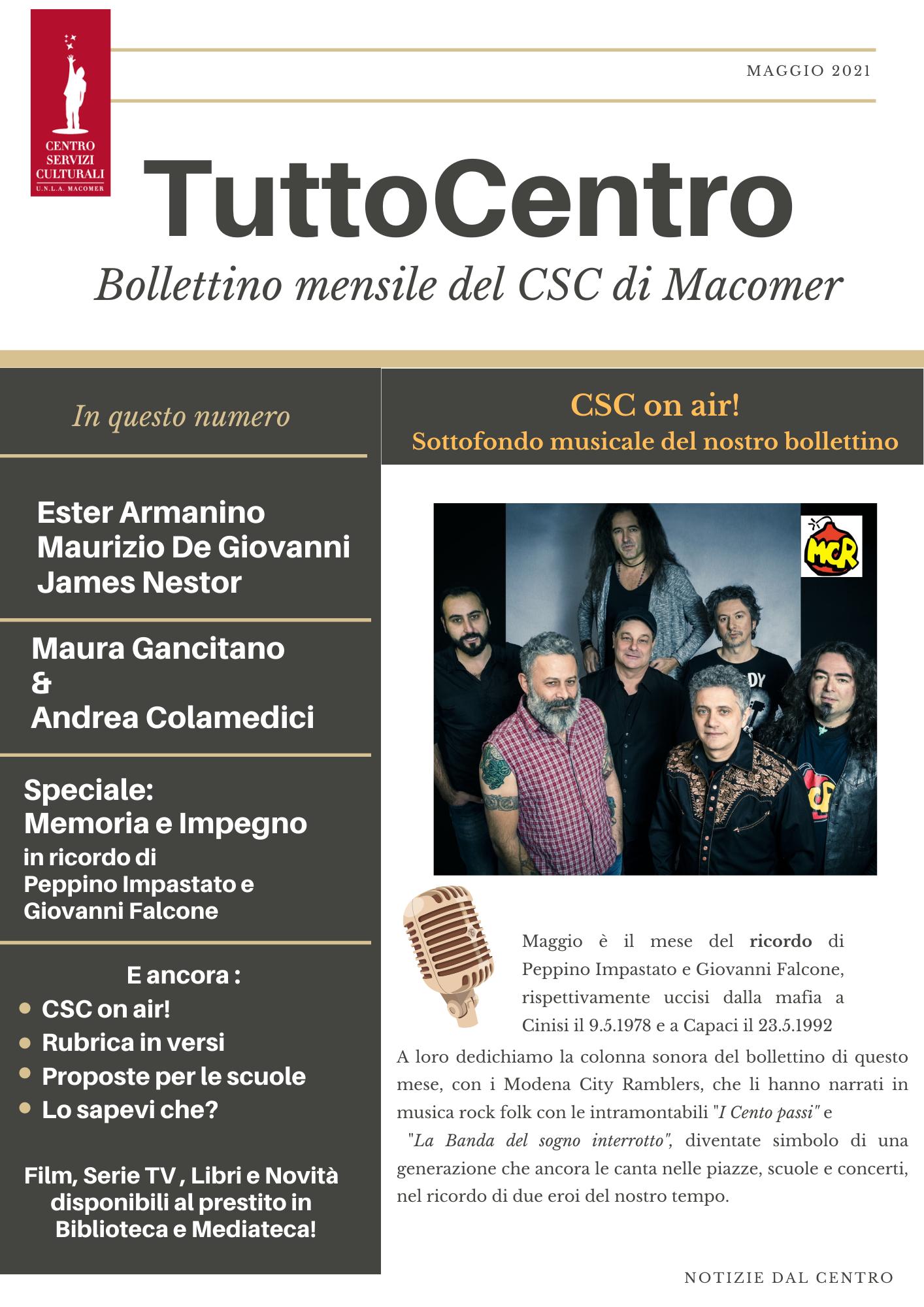 TuttoCentro – Maggio. Bollettino mensile del Centro Servizi Culturali di Macomer.