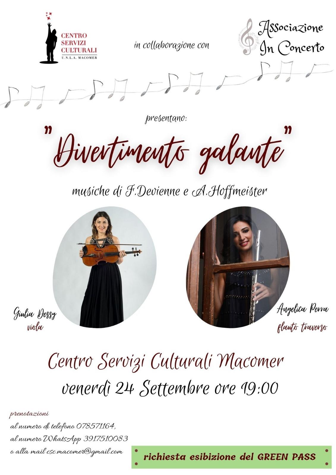 """""""Divertimento galante""""  concerto a cura delle musiciste Giulia Dessy alla viola e Angelica Perra al flauto traverso."""
